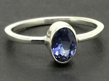 Real tanzanite Gemstone oval Ring, UK size N, solid Sterling Silver. New. UK.