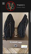 BEBE BLACK SUEDE HEELS  SZ .7.0  COWGIRL - NEW W /BOX