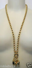 JOAN RIVERS Jewelry 3 Heart Pendants,Crystals, Simulated Onyx Goldtone Necklace
