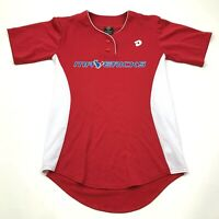 DeMarini Mavericks Jersey Size S -M Red White Blue Shirt Henley Short Sleeve Tee