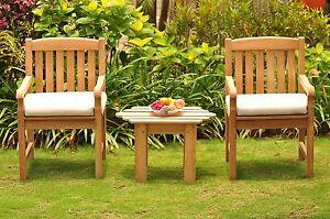 3Pc Dining Set:GradeA Teak Adirondack Side Table Devon Arm Chairs Outdoor Patio