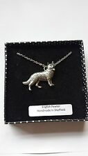 D2 German Shepherd english pewter 3D Platinum Necklace Handmade 18 INCH