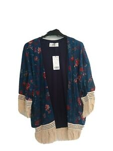 Mango Casual Wear Blue FLORAL Kimono UK Size M Holiday Beach BNWT