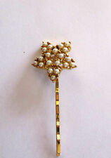 Star Studded Hair /Bobby Pin w/Faux White Pearls, Goldtone (Plated), New w/o Tag