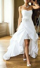 Vintage High Low Beach Wedding Dress with Crystal Beaded Sash Custom Bridal Gown