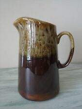 Vintage Carefree Ironstone By Canonsburg Brown Drip Pitcher With Ice Lip EUC