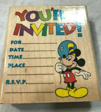 Mickey Mouse Rubber Stampede Stamp Disney Birthday Invitation Party Balloon RSVP