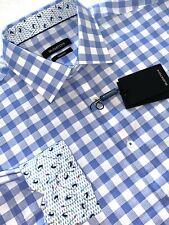Bugatchi Classic Fit Buffalo Check Sport Shirt Sky Blue