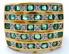 Emerald and Diamond Ring 18K Yellow Gold Size 7 Wide Band 8.2 Grams Vintage