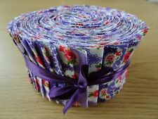 JELLY ROLL STRIPS 100% COTTON PATCHWORK FABRIC PURPLE FLORAL 40 PIECES