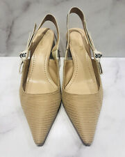 Christian Dior J'adior Nude Mesh Fabric Leather Women's Slingback Heels Shoes