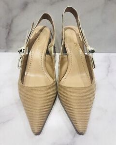 Christian Dior J'adior Nude Mesh Fabric Leather Women's Slingback Heels Shoes
