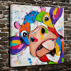 Rainbow colored naughty cow HD Canvas Print Home Decor Poster Wall Art Painting