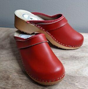 BJORK Maja Wood Open Back Red Leather Clogs EU39