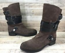 Luxury Rebel Taupe Suede Black Leather Strappy Buckle Boots Women's sz 8 / 38.5