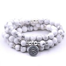 New Woman Yoga Lotus Pendant 108PCS Natural White Turquoise Necklace & Bracelets