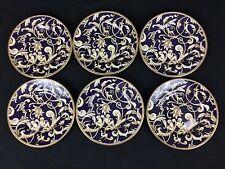 Wedgwood Cornucopia SIX (6) 6 Inch Accent Bread Plates Gold Navy Gorgeous