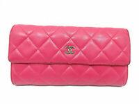 Authentic CHANEL Matelasse Bifold Long Wallet Lambskin Leather Pink 63593