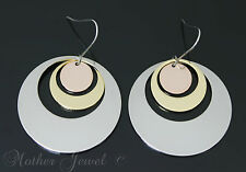 CIRCLE ROUND TRI-TONE ROSE SILVER YELLOW GOLD PLATED DROP HOOK DANGLE EARRINGS