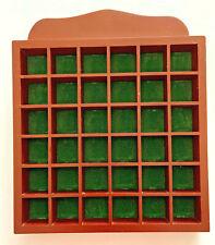 Wooden Thimble Display Case Rack Hold 36 Thimbles Wall Mountable Green Felt Back