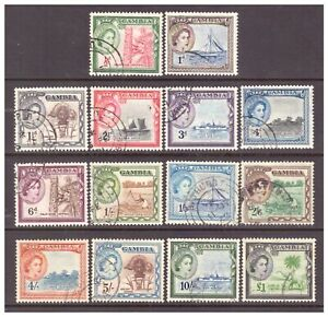 Gambia QEII 1953 Pictorial Definitive set used (no 2/-) SG171-185 (except SG180)