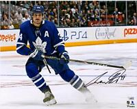"Auston Matthews Toronto Maple Leafs Signed 16"" x 20"" Blue Jersey Stopping Photo"