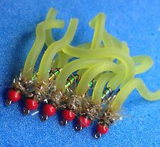 6 OLIVE chironomide Sans Ardillon Tungstène SQUIRMY worm Ombres Truites Flys Taille 10