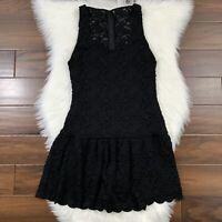 Alice + Olivia Women's Size Medium Black Lace Sleeveless Drop Waist Dress