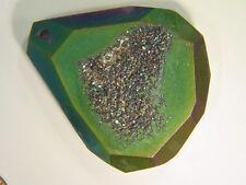 BUTW Titanim Flame Aura Faceted Quartz Crystal Drusy Druzy Geode Cabochon 2296E