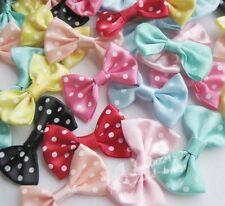 40pcs Satin Ribbon Bows Flowers w/ Dot DIY Sewing Appliques Crafts RB134