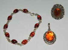 Parure Bracciale Ciondolo Anello in Argento 925 con ambra degli urali OMA19