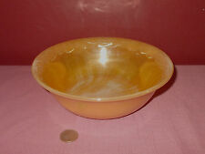 Vintage FIRE KING Peach Luster Ware  SERVING BOWL Leaf Rim 8 1/4 inch ^