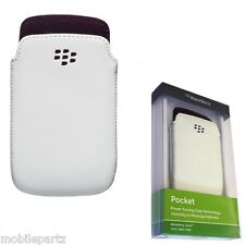 Original Blackberry Curve 9350 9360 9370 Blanco Cuero púrpura Forrado Pocket Pouch