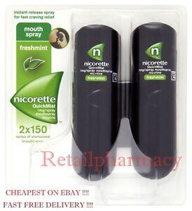 6 Packs Nicorette QuickMist 1mg Mouthspray Freshmint 2 x 150 Sprays January 2023
