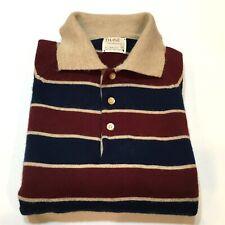 Vintage THANE Polo Style Long Sleeve Shirt Men's Medium Acrylic Stripes