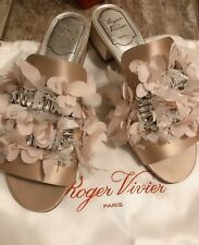 Authentic $2095 Roger Vivier Flower Crystal Buckle Pink Satin Size 37 7