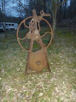 Antique Western Chief No 2 Forge Blower with Stand Large Flywheel Blacksmith