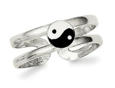 Yang Toe Ring Sterling Silver Enameled Yin