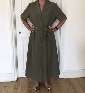 M&S Green/Khaki Button Vintage Dress With Belt Size 16 Marks and Spencer