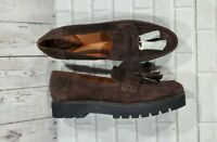 Franco Sarto Brody Platform Loafer Brown Suede Leather Tassels WOMENS SIZE 11