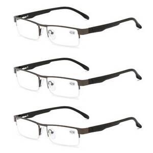 3 Pack Mens Reading Glasses Spring Hinges Business Metal 1.0 1.5 2.0 2.5 3.0 4.0