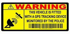 2 GPS TRACKING Security Warning stickers Car Motorbike Scooter Motorcycle Yellow