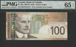 TT PK BC-66a 2003-05 CANADA BANK OF CANADA $100 SIR ROBERT BORDEN PMG 65 EPQ GEM