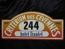 Plaque de rallye Critérium des Cévennes 1982 rally plate WRC rallying Alfa Romeo