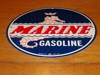 """VINTAGE 1957 """"MARINE GASOLINE SEA HORSE"""" 11 3/4"""" PORCELAIN METAL GAS & OIL SIGN!"""