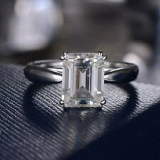 2.70 ct Emerald Diamond Sterling 925 Silver Ring VVS1/D New Ring