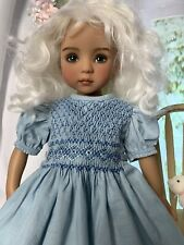 "33cm Boneka Smocked Blue Cotton Dress For 13"" Dianna Effner Little Darling Doll"