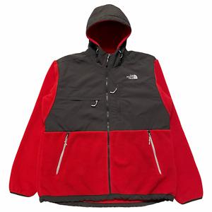 Size XL - TNF The North Face Hooded Denali Polartec Fleece Jacket Red / Grey VTG