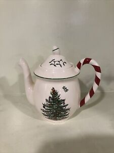 BEAUTIFUL Spode Christmas Tree Peppermint Candy Cane Handle Teapot Tea Pot