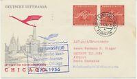 """BUNDESREPUBLIK 1956 Erstflug Deutsche Lufthansa  """"FRANKFURT - CHICAGO"""""""